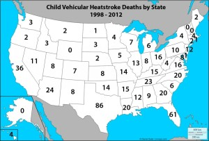 Child Heat Related Deaths Related to Being Left in a Vehicle